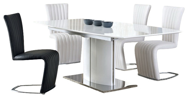 Blanch White High Gloss/Chrome Extendable 8 PC Dining Set