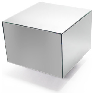 Large Low Mirrored Cube Table modern-side-tables-and-end-tables