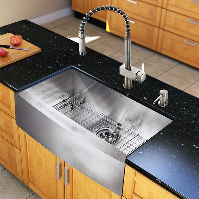 ... One 33-inch Farmhouse Kitchen Sink and Faucet Set modern-kitchen-sinks