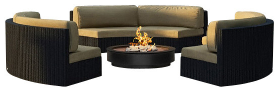 Urbana Eclipse 3 Piece Round Sectional Set, Heather Beige Cushions modern-patio-furniture-and-outdoor-furniture