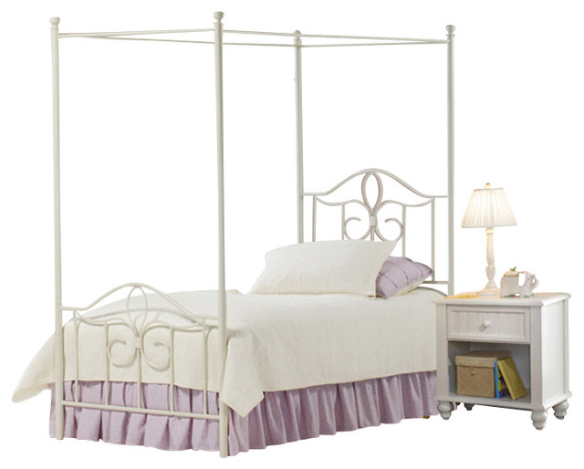 piece metal canopy bedroom set in white twin traditional furniture