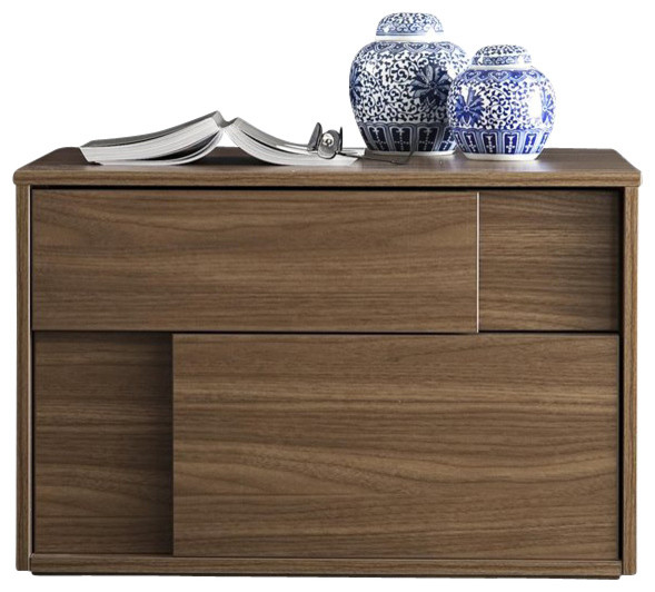 Rossetto Square Left Night Stand in Walnut transitional-nightstands-and-bedside-tables