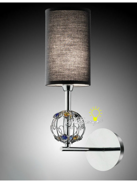 Modern Fabric and Crystal Wall Sconce in Chrome Finish - Modern Fabric and Crystal Wall Sconce in Chrome Finish