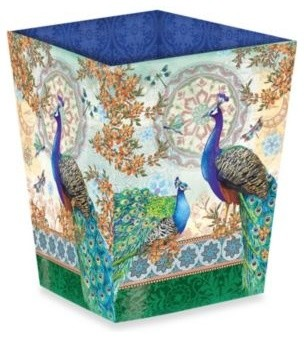 Royal Peacock Waste Basket Contemporary Wastebaskets