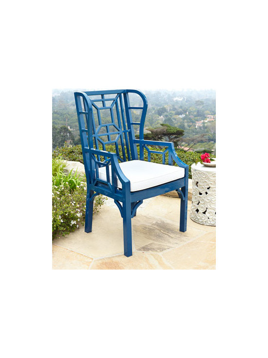 Horchow - Navy Chinoiserie Outdoor Wing Chair - This navy Chinese Chippendale wing chair is made of aluminum for the outdoors — even though it looks like it belongs in the dining room. I love this chair!