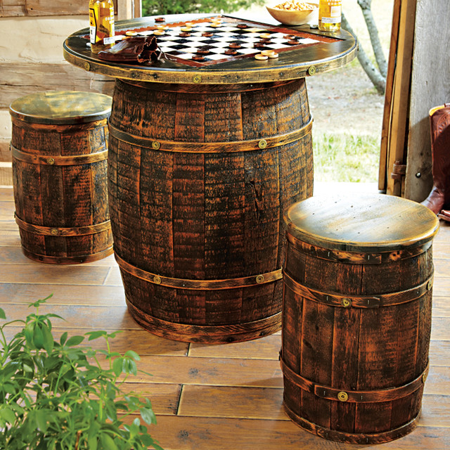 Whiskey Barrel Game Table & Stools eclectic-bar-tables