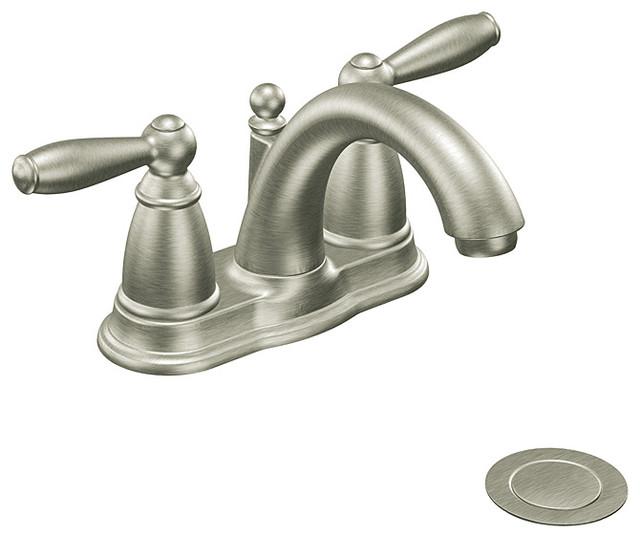moen 6610bn brantford two handle low arc bathroom faucet