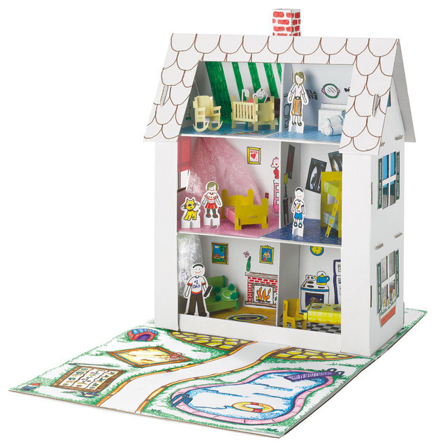 Recycled Cardboard Dollhouse - Contemporary - Kids Toys And Games - by Moolka