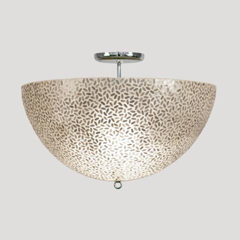 Worlds away rice flush mount capiz shell fixture for Shell ceiling light fixtures