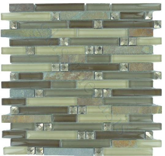 Random Bricks Brown Glamour Series Glossy & Unpolished Glass and Slate modern-tile