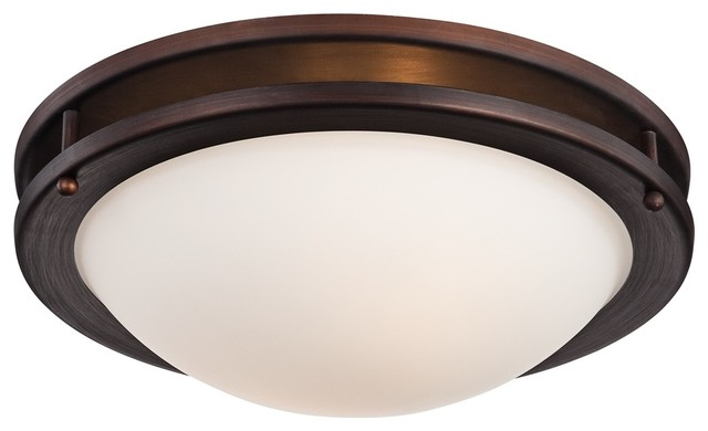 Arts and crafts mission justin 13 1 4 wide bronze for Arts and crafts flush mount lighting