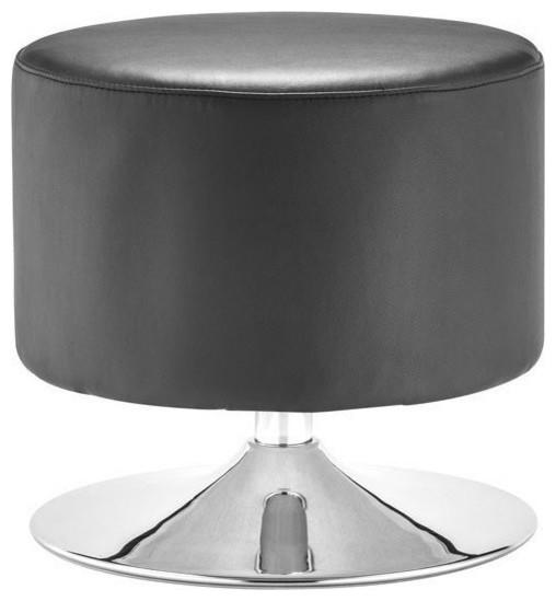 Round Leather Ottoman Design : Round Black Leather Ottoman Plump - Modern - Footstools & Ottomans ...