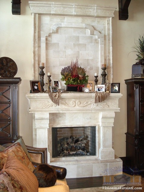Limestone Fireplace Traditional Indoor Fireplaces