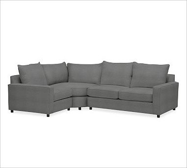 PB Comfort Square Arm Upholstered Right 3-Piece Wedge Sectional, Knife-Edge Cush traditional-pillows