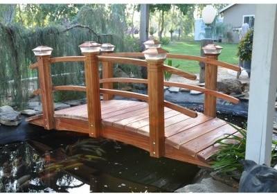 Redwood 8 ft Curved Rail Garden Bridge Modern Outdoor