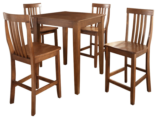5-Piece Pub Dining Set with Tapered Leg and School House Stools traditional-dining-sets