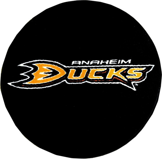 NHL Anaheim Mighty Ducks Hockey Puck Shaped Accent Rug