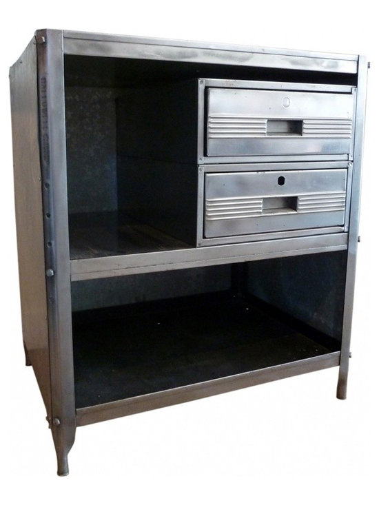 steel cabinet - Heavy steel with tray top, two well functioning drawers and extra storage.