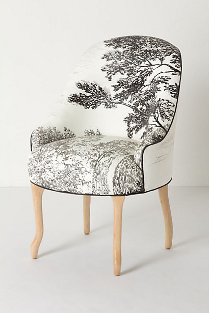Handpainted Toile Pull-Up Chair eclectic chairs