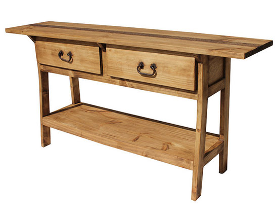 Rustic Pine Console Table - Hand made in Mexico, this long, narrow table fits well behind a sofa or in an entry hall. Two deep and wide drawers provide lots of storage, and there is even a shelf at the base for display of home accessories. Simple legs and a large top make this affordable table a welcome addition to your home or office. The rustic styling goes well with other decor.