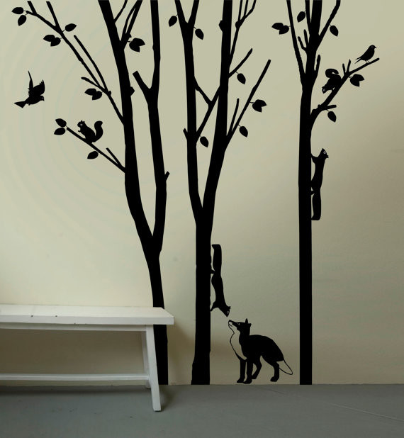 Fox and Squirrels in Woodlands Large Removable Wall Decal
