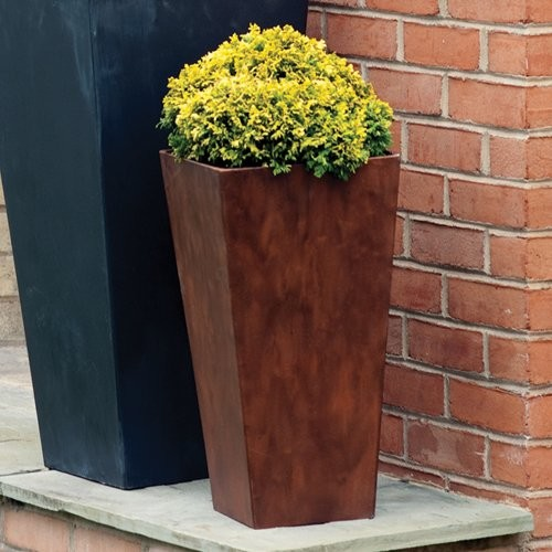 Square Resin Novelty Tall Ella Planter - 19.5 in. Teak contemporary-outdoor-pots-and-planters