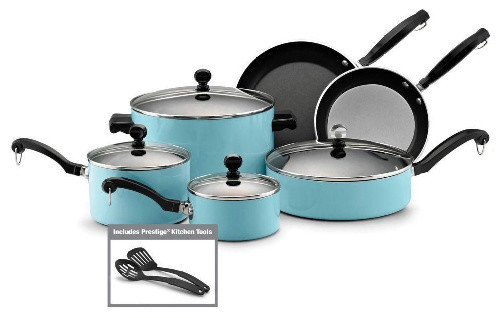 Classic Farberware 12 Piece Nonstick Cookware Set, Turquoise modern-cookware-sets