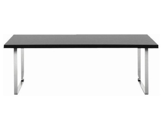 Bosphorus Dining Table by sohoConcept - Bosphorus is a dining table that combines classic beauty and strength. MDF table top covered with wenge oak, walnut or lacquer. Solid stainless steel sleigh legs plated with polished chrome. This table arrives in two boxes. Bosphorus table is available with walnut finish in the small size, with walnut, white and wenge finish in the medium size, and with walnut finish in the large size.