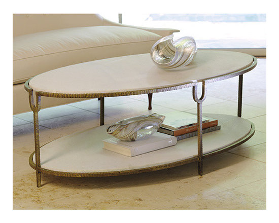 Iron And Stone Oval Coffee Table -