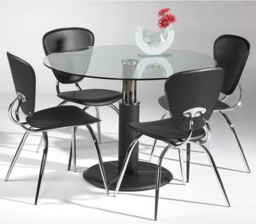ikea round glass dining table and black chairs
