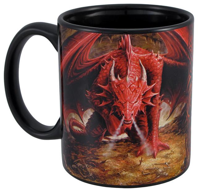 Anne Stokes Quot Dragon Lair Quot Black Ceramic Coffee Mug 12 Oz