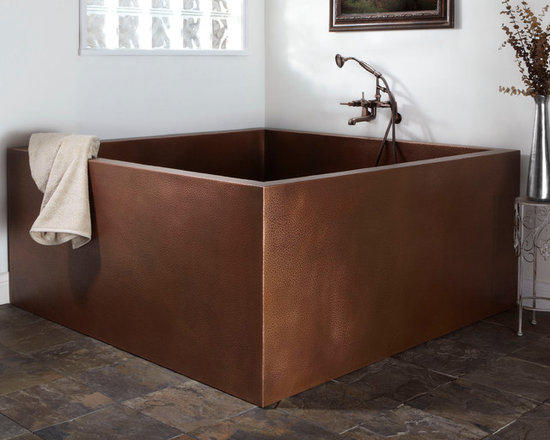 "Amazing Tubs - 60"" Elsinore Double Wall Square Hammered Copper Soaking Tub, Signature Hardware"