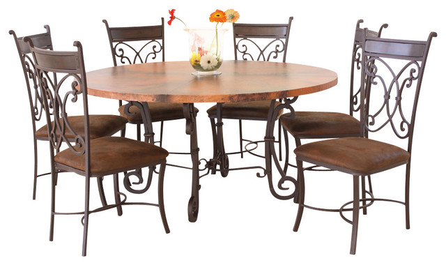 copper top dining room set with lazy susan traditional dining sets