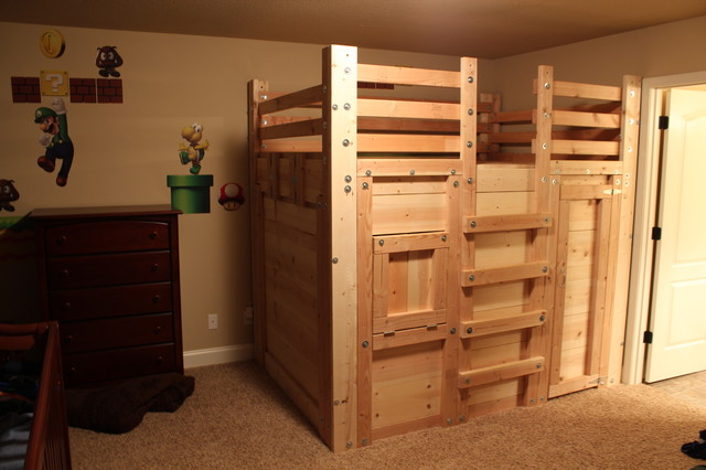The Bed Fort Locked Up - Built From Queen Loft Bed Plans ...
