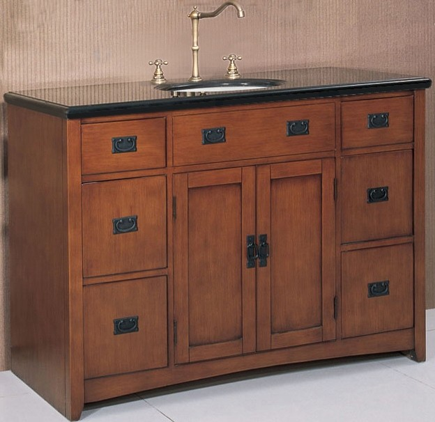48 inch wide mission style single sink vanity in spice oak for Bathroom 48 inch vanity