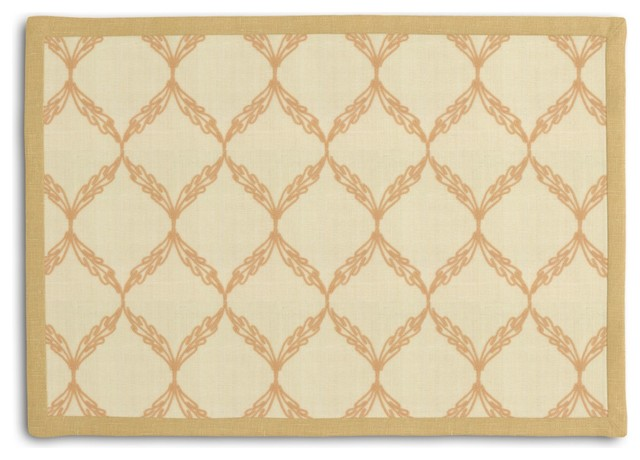 Beige Embroidered Trellis Tailored Placemat Set traditional-placemats
