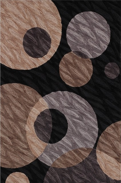 Contemporary Textured Black Multi Area Rug contemporary rugs