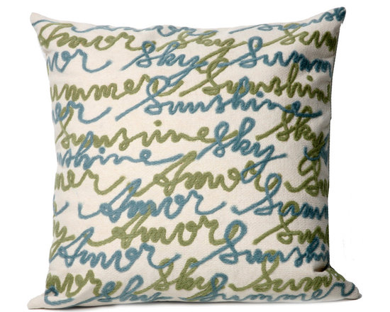 """Trans-Ocean Outdoor Pillows - Trans-Ocean Liora Manne Amour Blue - 20"""" x 20"""" - Designer Liora Manne's newest line of toss pillows are made using a unique, patented Lamontage process combining handmade artistry with high tech processing. The 100% polyester microfibers are intricately structured by hand and then mechanically interlocked by needle-punching to create non-woven textiles that resemble felt. The 100% polyester microfiber results in an extra-soft hand with unsurpassed durability."""