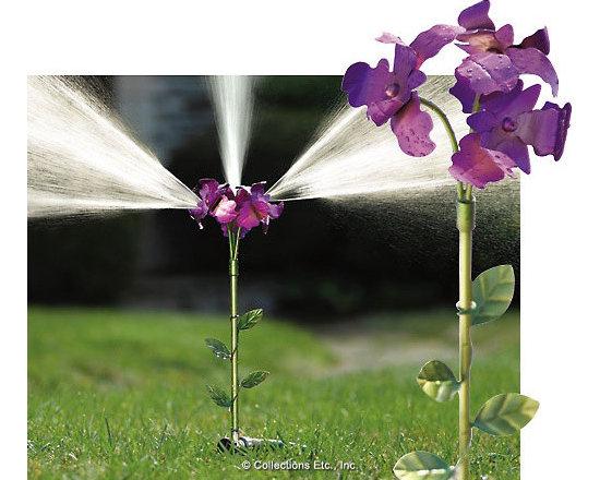 Iris Flower Lawn Sprinkler Yard Stake -