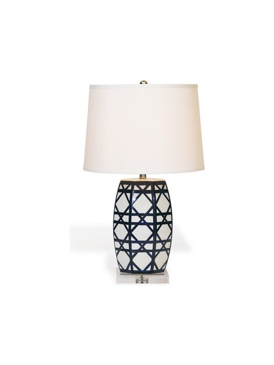 "Gazebo Navy Lamp 28"" - Fresh garden lattice is accentuated on our Gazebo Lamp. Dark navy lines are hand painted in the geometric pattern of woven lattice on our porcelain lamp base. Lucite stand. Nickel hardware. Nickel ball finial. 3 way switch."