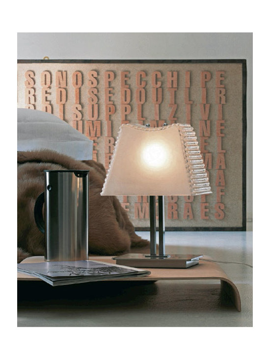 Kimilla Table Lamp by Penta Light - Kimilla Table Lamp by Penta Light. Lamps with metal structure in nickel satin. Shade in blown glass: transparent/mat or fumé. Wall lamps only transparent/ mat shade. Kimilla Table Lamp by Penta Light are designed by Umberto Asnago.