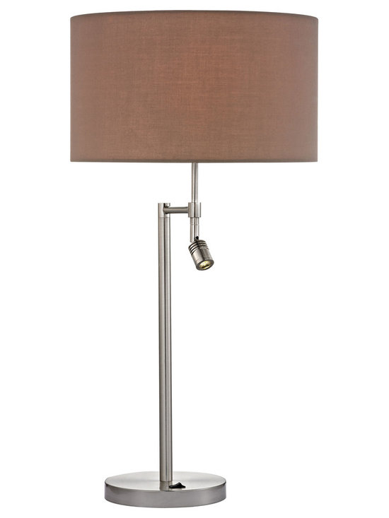 Dimond Lighting - Beaufort Dual Light Table Lamp - Beaufort Dual Light Table Lamp features a Light Taupe shade with a Satin Nickel finish.  Available with LED and incandescent lamp options with an LED mini light for directional lighting. LED: Two 3 watt, 120 volt  800 lumen 3000K 80 CRI LED type medium base bulb is included. Incandescent: Two 100 watt, 120 volt A19 type Medium base incandescent bulbs are required, but not included. One 3 watt, LED type bulb is included for the mini light. 15 inch width x 27.5 inch height.
