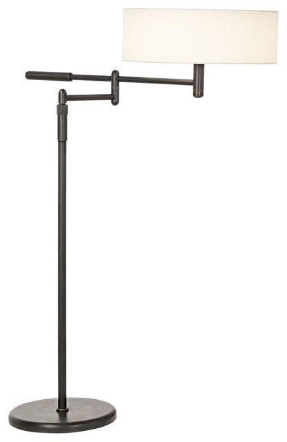 Sonneman Perno Black Brass Swing Arm Floor Lamp - contemporary