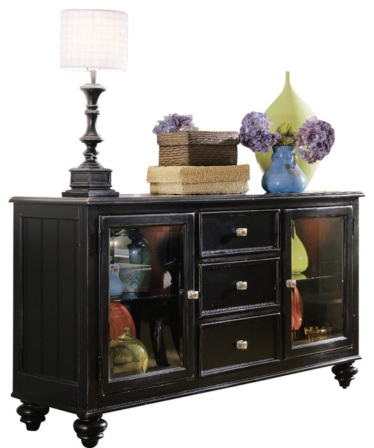 American Drew Camden-Dark China Buffet with Round Mirror in Black - Traditional - Mirrors - by ...