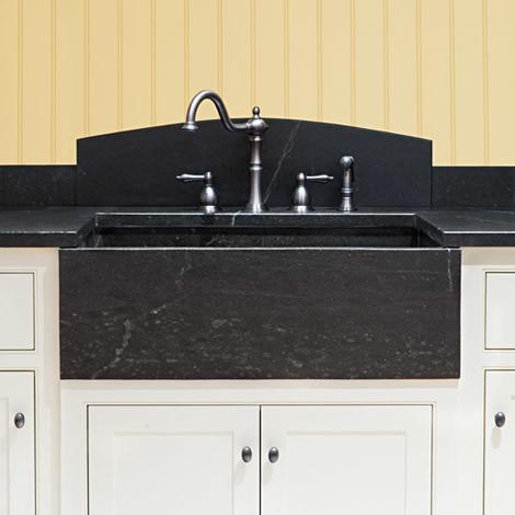 soapstone farm sink with curved backsplash kitchen sinks