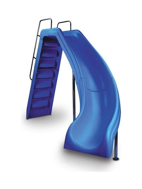 Inter-Fab Wild Ride Right Curve Complete Pool Slide - Blue - -Durable, Long Lasting Fiberglass Reinformcements