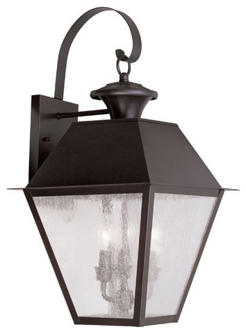 Mansfield Bronze Three-Light Outdoor Wall Lantern modern-outdoor-wall-lights-and-sconces