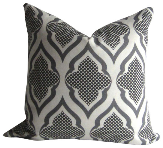 Black White And Gray Throw Pillows : Ravenna Pillow Cover - 20 inch - Michael Szell - Black and white and gray - Modern - Decorative ...