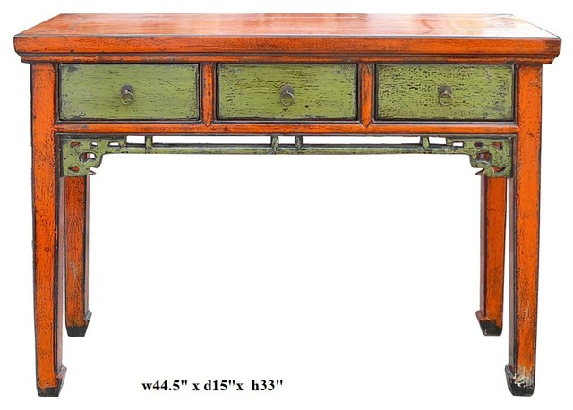Chinese Orange Green Rustic Lacquer Altar Console Table contemporary-side-tables-and-end-tables
