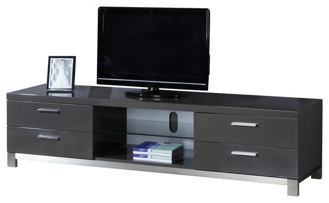 natasha high gloss grey stainless steel modern tv stand. Black Bedroom Furniture Sets. Home Design Ideas